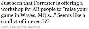 Tweet on Forrester AR workshop